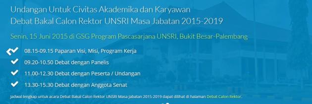 Debat Bakal Calon Rektor Universitas Sriwijaya Masa Jabatan 2015-2019