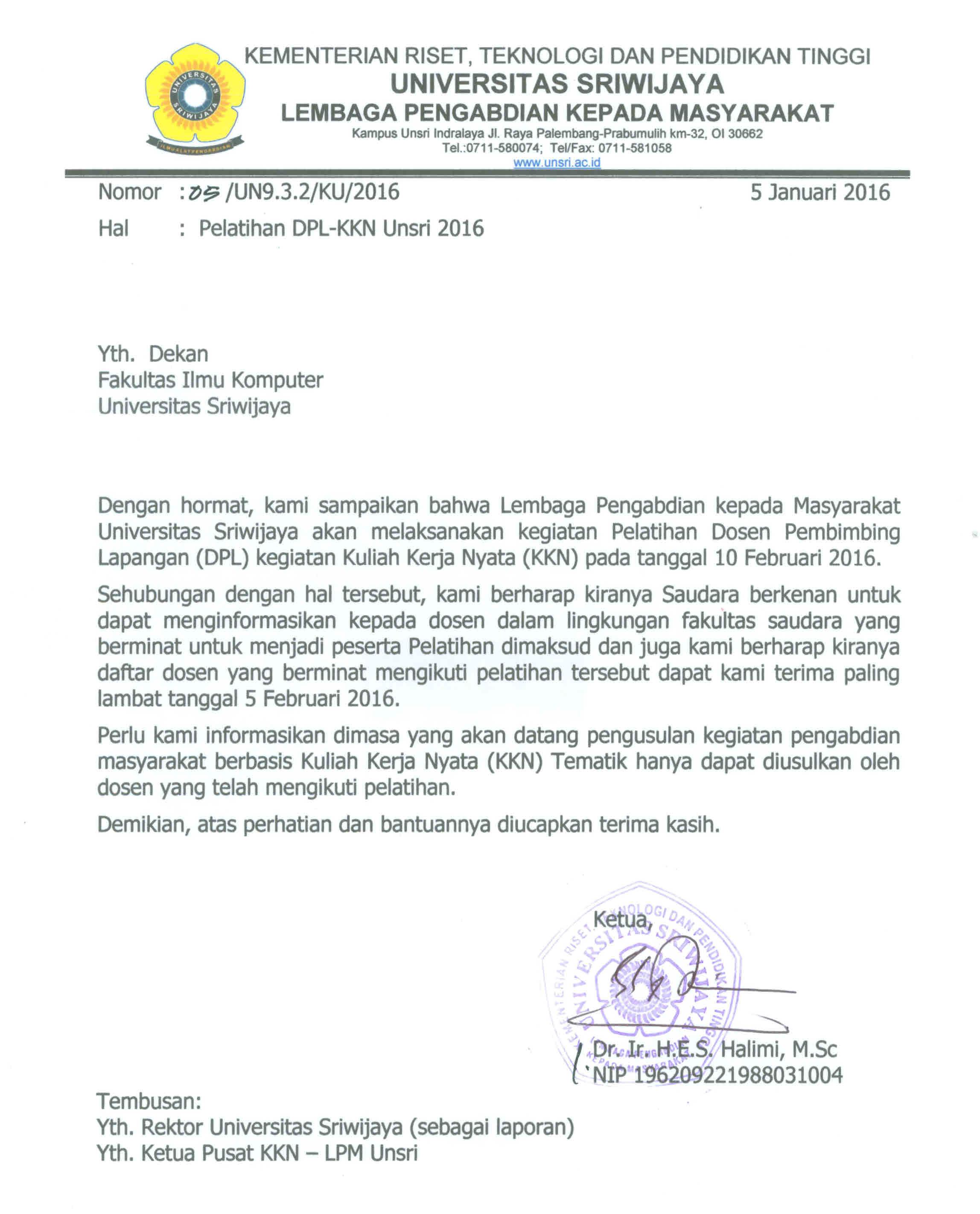elatihan DPL-KKN Unsri 2016
